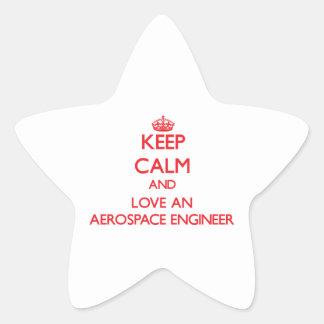 Guarde la calma y ame a un ingeniero aeroespacial pegatinas