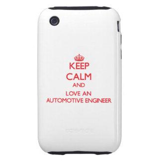 Guarde la calma y ame a un ingeniero automotriz tough iPhone 3 cárcasa