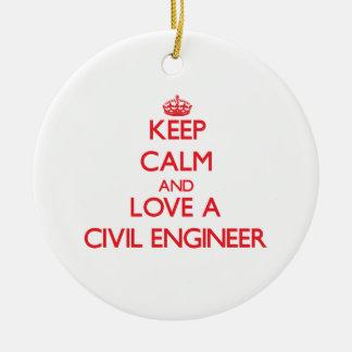 Guarde la calma y ame a un ingeniero civil ornamentos para reyes magos