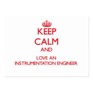 Guarde la calma y ame a un ingeniero de la instrum plantilla de tarjeta de visita