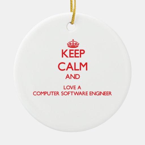 Guarde la calma y ame a un ingeniero de los progra ornamento de reyes magos