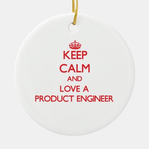 Guarde la calma y ame a un ingeniero del producto ornamento de navidad