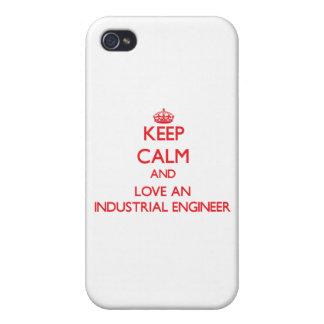 Guarde la calma y ame a un ingeniero industrial iPhone 4 protector