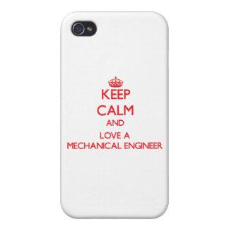 Guarde la calma y ame a un ingeniero industrial iPhone 4 cárcasas