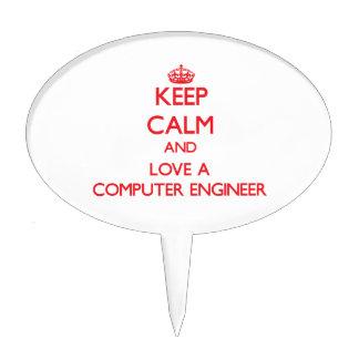 Guarde la calma y ame a un ingeniero informático figura para tarta