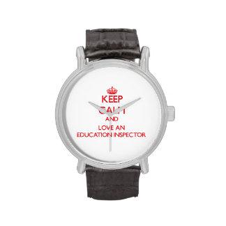 Guarde la calma y ame a un inspector de la educaci relojes de mano