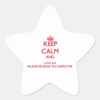 Guarde la calma y ame a un inspector del impuesto pegatina forma de estrella personalizadas