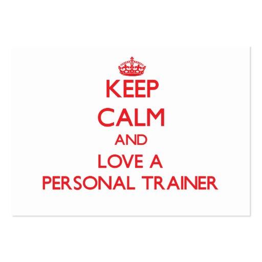 Guarde la calma y ame a un instructor personal plantillas de tarjetas personales