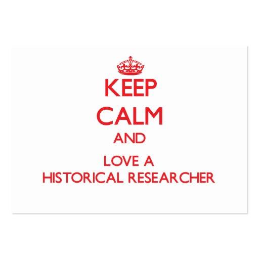 Guarde la calma y ame a un investigador histórico tarjetas de visita