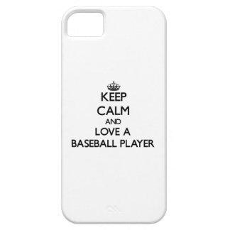 Guarde la calma y ame a un jugador de béisbol iPhone 5 Case-Mate funda