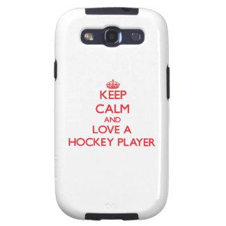 Guarde la calma y ame a un jugador de hockey galaxy SIII cárcasas