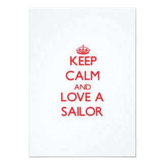 """Guarde la calma y ame a un marinero invitación 5"""" x 7"""""""