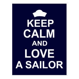 Guarde la calma y ame a un marinero tarjetas postales