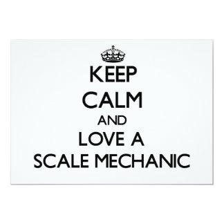 Guarde la calma y ame a un mecánico de la escala invitación 12,7 x 17,8 cm