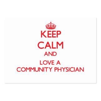 Guarde la calma y ame a un médico de la comunidad plantilla de tarjeta personal