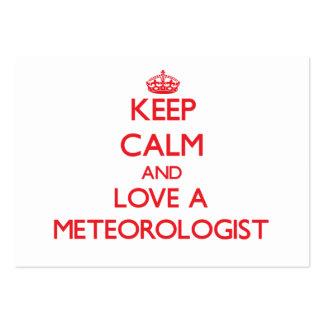 Guarde la calma y ame a un meteorólogo tarjetas de negocios