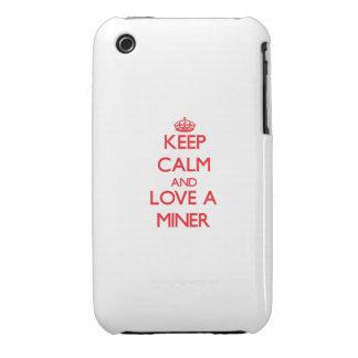 Guarde la calma y ame a un minero iPhone 3 cárcasa