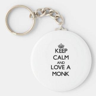 Guarde la calma y ame a un monje llaveros personalizados