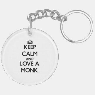 Guarde la calma y ame a un monje llavero