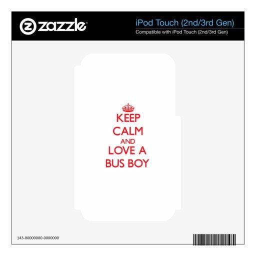 Guarde la calma y ame a un muchacho de autobús iPod touch 3G skins