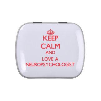 Guarde la calma y ame a un neuropsicólogo frascos de dulces