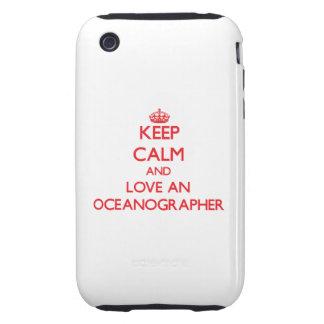 Guarde la calma y ame a un oceanógrafo tough iPhone 3 protectores