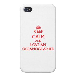 Guarde la calma y ame a un oceanógrafo iPhone 4/4S carcasa