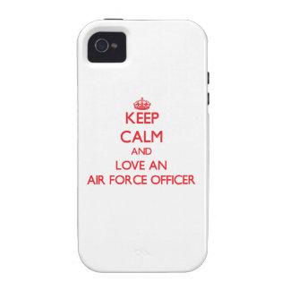 Guarde la calma y ame a un oficial de fuerza aérea Case-Mate iPhone 4 carcasa
