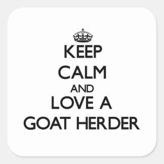 Guarde la calma y ame a un pastor de la cabra calcomanías cuadradas personalizadas