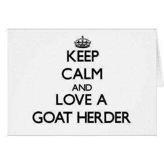 Guarde la calma y ame a un pastor de la cabra tarjetón