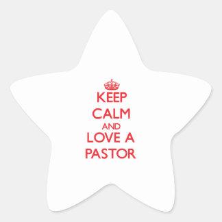 Guarde la calma y ame a un pastor pegatina