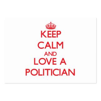 Guarde la calma y ame a un político tarjetas de visita grandes