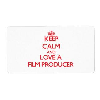 Guarde la calma y ame a un productor cinematográfi etiquetas de envío