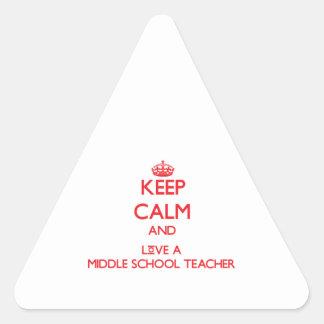 Guarde la calma y ame a un profesor de escuela pegatina triangular