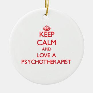 Guarde la calma y ame a un psicoterapeuta ornamente de reyes