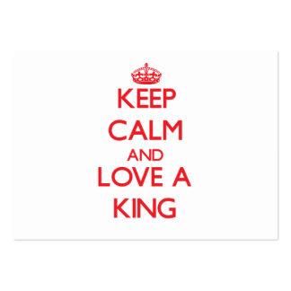 Guarde la calma y ame a un rey plantillas de tarjetas de visita