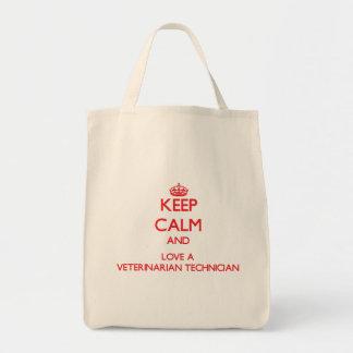 Guarde la calma y ame a un técnico veterinario bolsa de mano