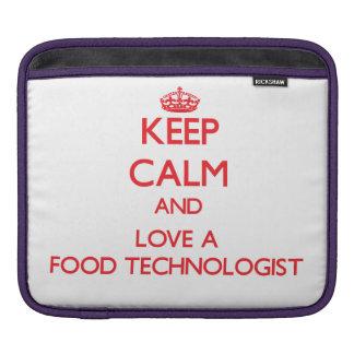 Guarde la calma y ame a un tecnólogo de la comida fundas para iPads