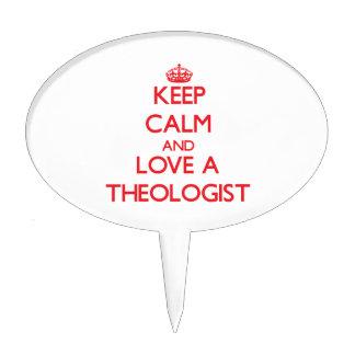 Guarde la calma y ame a un teólogo decoraciones para tartas