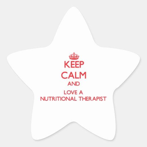 Guarde la calma y ame a un terapeuta alimenticio colcomanias forma de estrella personalizadas