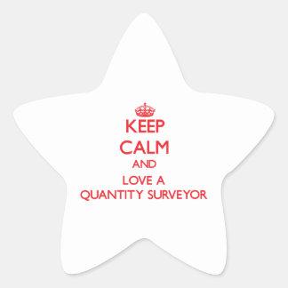 Guarde la calma y ame a un topógrafo de cantidad pegatina en forma de estrella