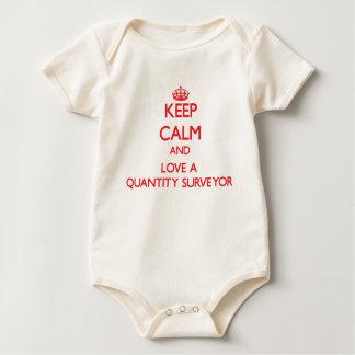Guarde la calma y ame a un topógrafo de cantidad traje de bebé