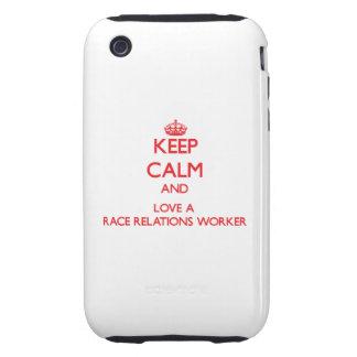Guarde la calma y ame a un trabajador de las relac iPhone 3 tough protectores