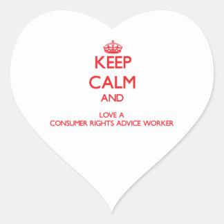 Guarde la calma y ame a un trabajador del consejo calcomanías de corazones