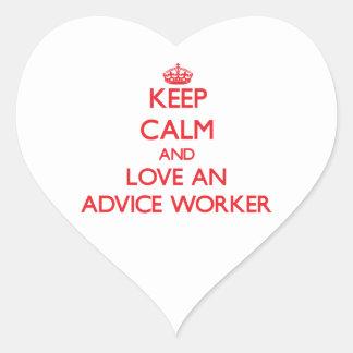 Guarde la calma y ame a un trabajador del consejo pegatina de corazon personalizadas