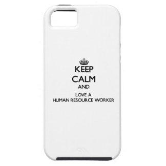 Guarde la calma y ame a un trabajador del recurso iPhone 5 protectores