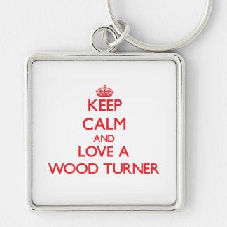 Guarde la calma y ame a un Turner de madera Llavero Personalizado