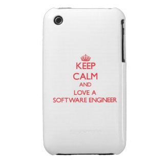 Guarde la calma y ame a una Software Engineer iPhone 3 Case-Mate Coberturas