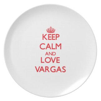 Guarde la calma y ame a Vargas Platos Para Fiestas
