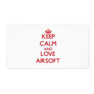 Guarde la calma y ame Airsoft Etiqueta De Envío
